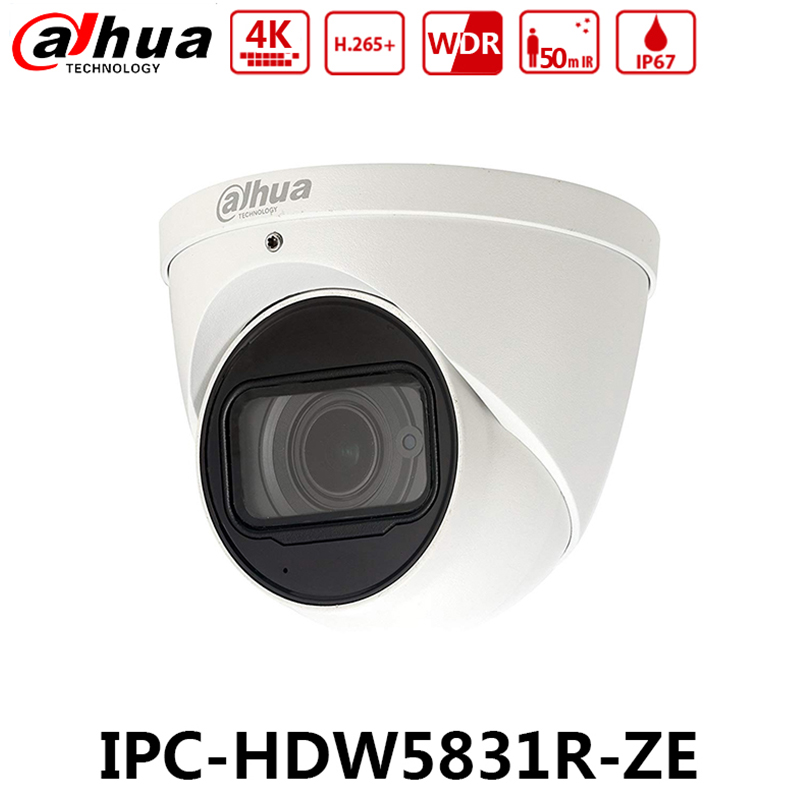 Dahua IPC HDW5831R ZE 4K 8MP WDR IR Eyeball Network Camera POE 2 7 12mm Motorized