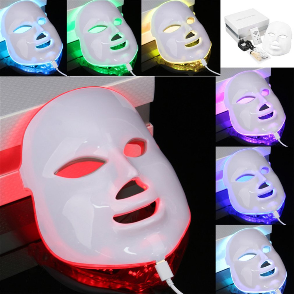 7 Color Light Photon PDT LED Electric Face Massage Facial Mask Skin Care Rejuvenation Therapy Anti-aging Promote Skin Cells EU free shipping 3mhz ultrasonic ultrasound facial skin lift anti aging photon led therapy care