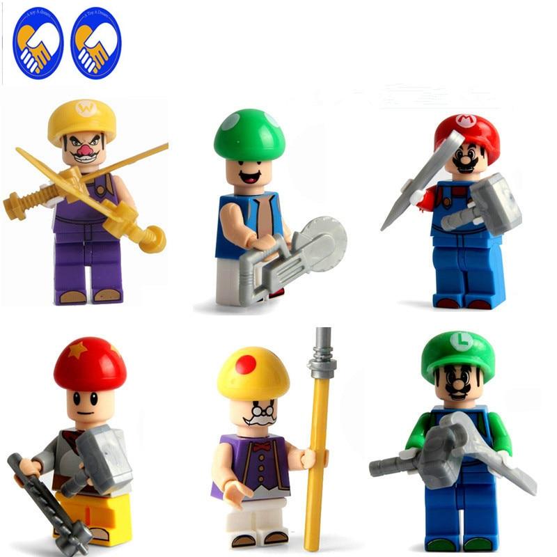 A Toy A Dream 6pcs Super Marios Bros Luigi Mushroom Game Let it go Assemble Building Doll 3D Model  Bricks Blocks Kids Toy K465 colosseo 80301 6 3 luigi
