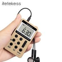 Retekess Portable Radio FM/AM Digital Portable Mini Receiver With Rechargeable Battery& Earphone Radio Recorder F9202C