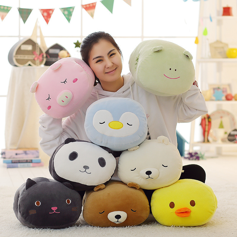 Stuffed Plush Toy Cartoon Hand Warm Pillow Soft Pig Chick Penguin Cat Panda Polar Bear Frog Doll Toy For Children Chrictmas Gift