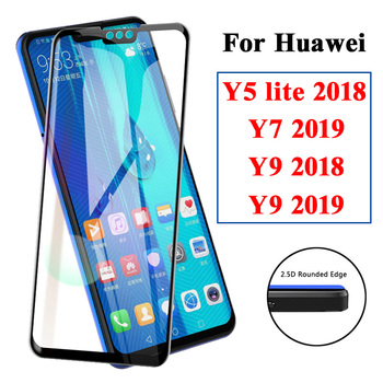 Protective glass on for huawei y9 y7 y5 2018 screen protector y 5 7 9 lite 2019 light hauwei huavei huawey armor cover film 9y image
