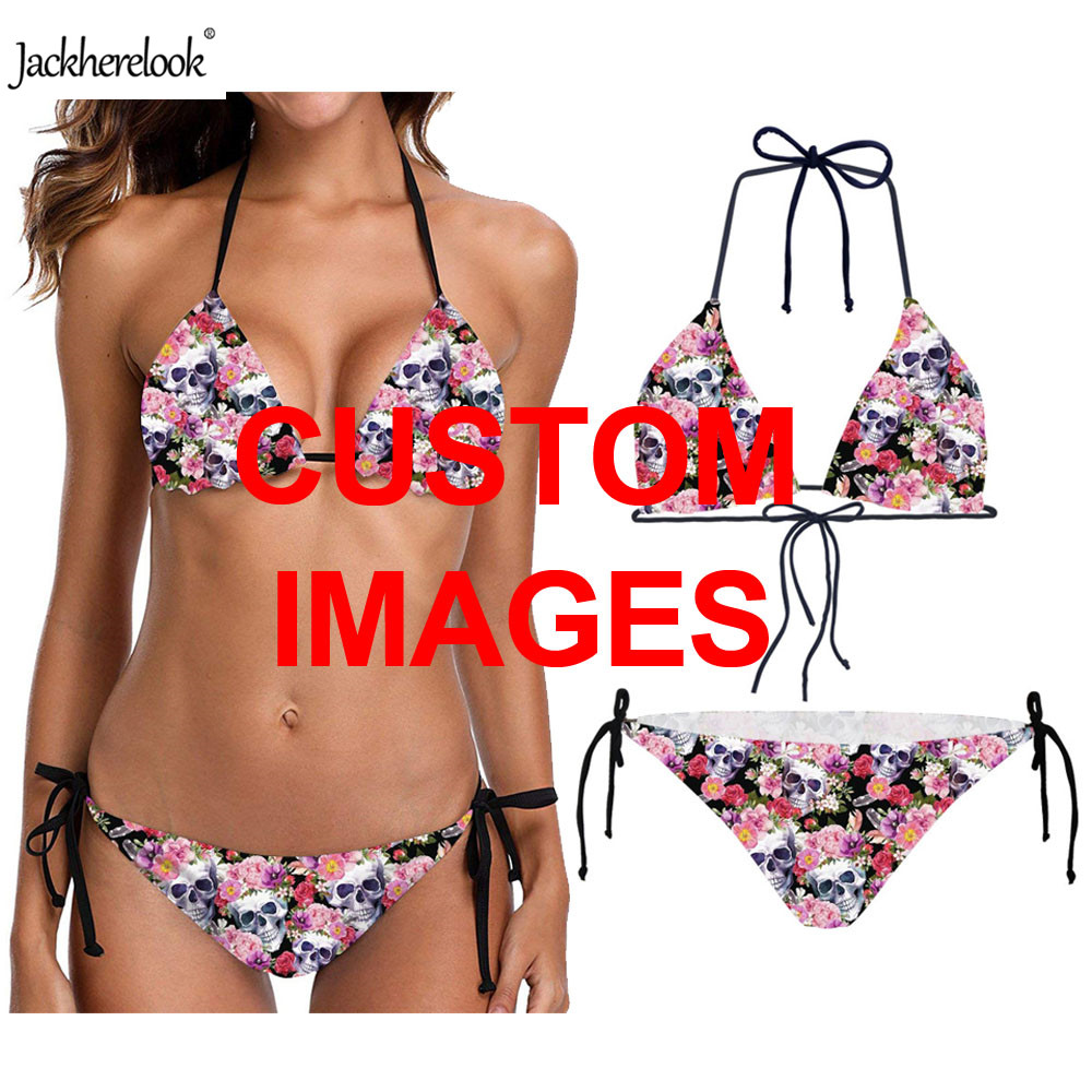 Jackherelook Customize <font><b>3D</b></font> Printing Women Sexy <font><b>Bikini</b></font> Set 2019 Ladies Summer Beach Wear Triangle Halter Two Piece Bathing Suits image