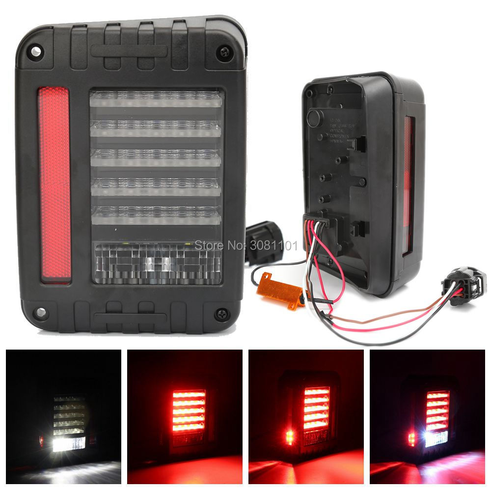 LED Tail Lights Tail Light Brake Reverse Light Rear Back Up Turn Singal Lamp Daytime Running Light for Jeep Wrangler JK JKU