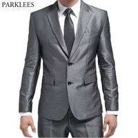 2018 Brand New Men Sliver Grey Tuxedo Suits with Pants Mens Single Breasted Two Button 2 Piece Suits Costume Homme Wedding Suits