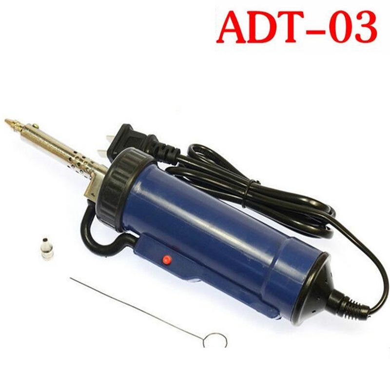 Automatic suction tin device electric suction tin gun electric absorption tin pump ADT-03 removal of tin electronic tools free shipping desoldering gun 842a 220v 30w suction tin soldering iron 2 in 1 electric suction tin tip tong acupuncture