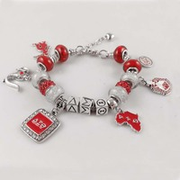 Red Bead Delta Sigma Theta Sorority Founder Lady 1913 elephant Charm DST Bracelet Jewelry