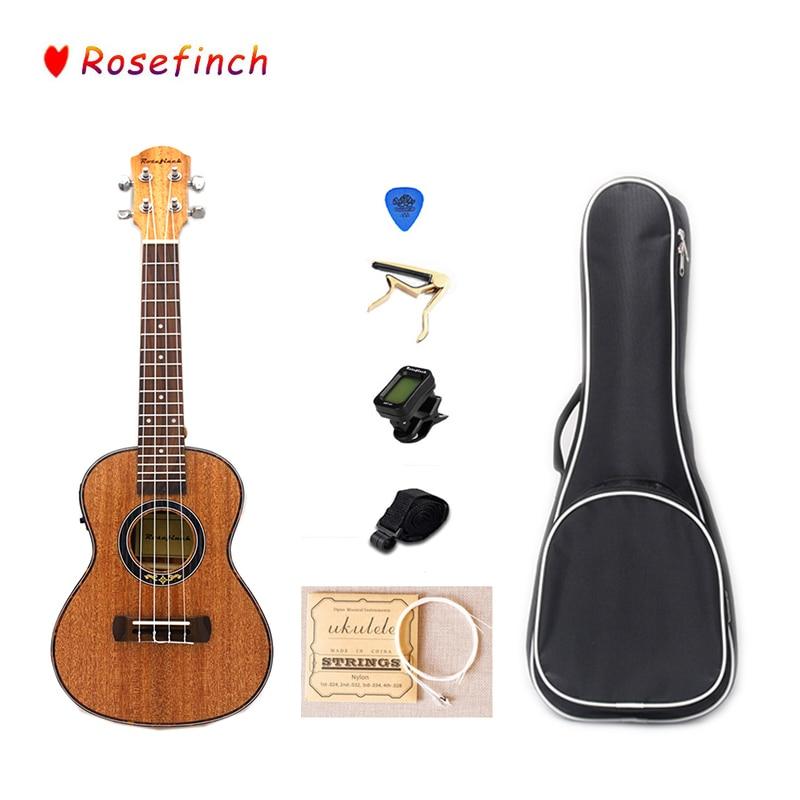 Juegos de ukelele eléctrico de caoba de 4 cuerdas de 23 pulgadas con sintonizador de bolsa Hawaii Mini instrumento de música de guitarra UK2305C-EQ