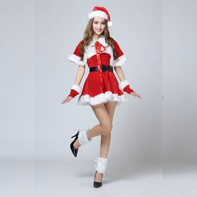 120e505d81f Online Shop Hot New Fashion Gold Velvet Sexy Adult Santa Miss Dress Nifty  Cute Christmas Sweetheart Miss Halloween Cosplay Costume 6pcs Set