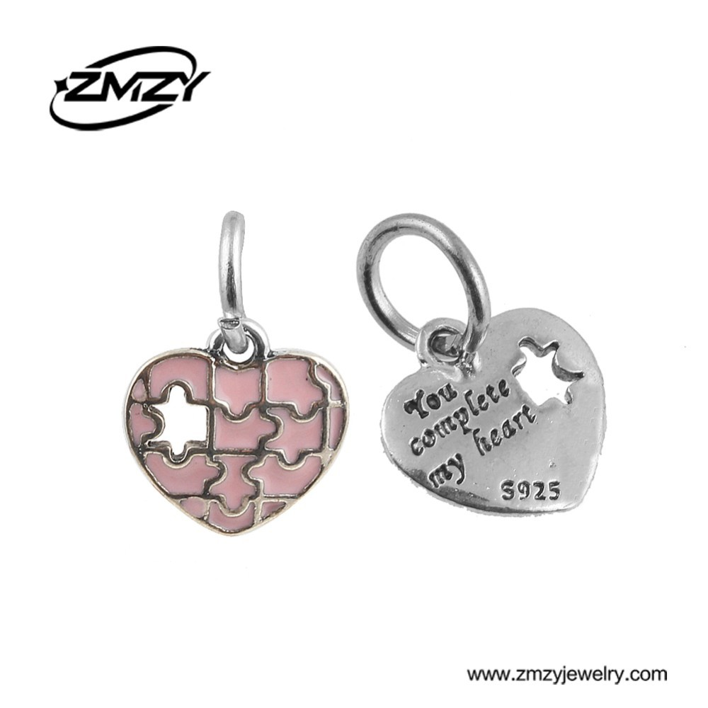 You complete my heart Dangle Beads Fashion Enamel Pink Charm Pendant Fit Pandora Charm Bracelet for