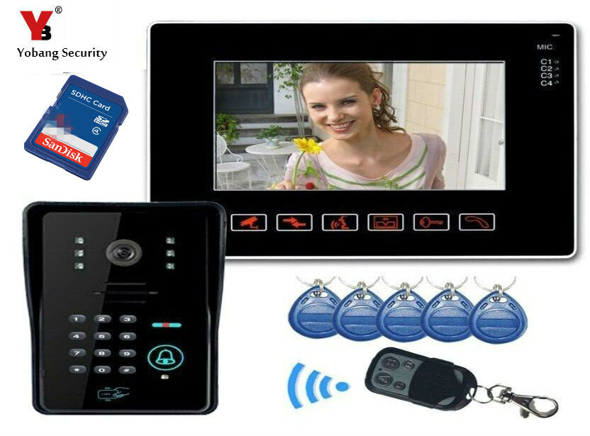 Yobang Security 9inch Door Monitor Video Intercom Home Door Phone Recorder System SD/TF Card Supported Waterproof RIFD camera home use 9 inch color tft monitor 8gb sd card video record door phone doorbell intercom system ir camera for apartment security
