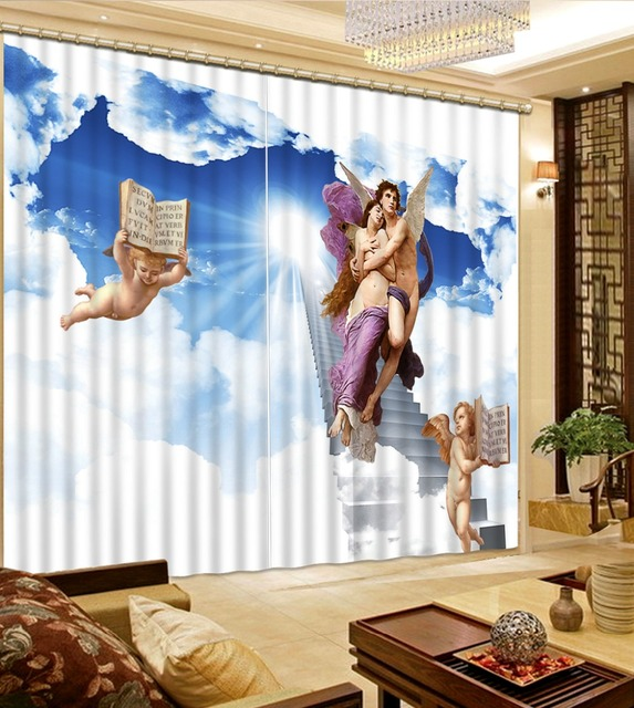 European Modern Curtains Photo Print angel Curtains 3D sheer Curtain ...