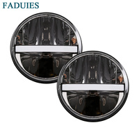 FADUIES 2pcs 7 60W LED Headlights for Jeep CJ/Wrangler JK Headlamps Led Driving Light for Land Rover Defender H4 LED Headlights