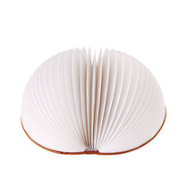 2.5W 2000mA rechargeable round book lighting night light,remote control seven color adjustable,portable folding paper book light