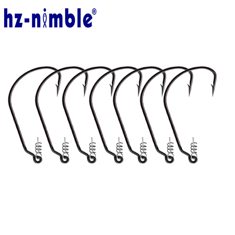 10Pcs Fishing Hooks Springs Barbed Soft Bait Lure Hook Fishing Tackle Accessories Pesca