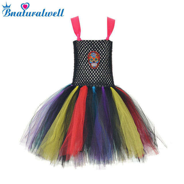 e51367df579 US $13.81 |Rainbow Sugar Skull Tutu Dress 2T 3T 4 5 6 7 8 Skeleton Head Day  Of The Dead Halloween Costume First Birthday Outfit AA038K-in Dresses from  ...
