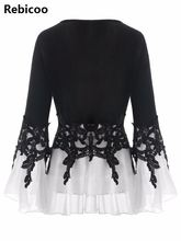 Plus Size 5XL Applique Layered Flare Sleeve Chiffon Panel Flowy Blouse Women Tops Clothing Blouse Femme 2018 Blouses lace panel flowy cold shoulder blouse