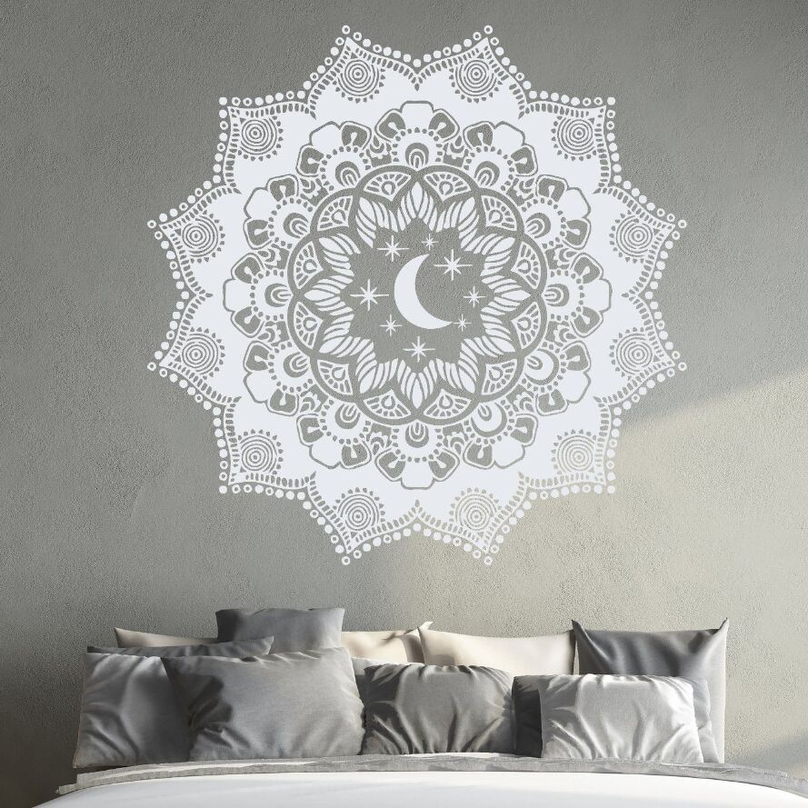 Mandala Sticker Vinyl Wall And Stars Decal Bohemian Moon IDHeE92YW