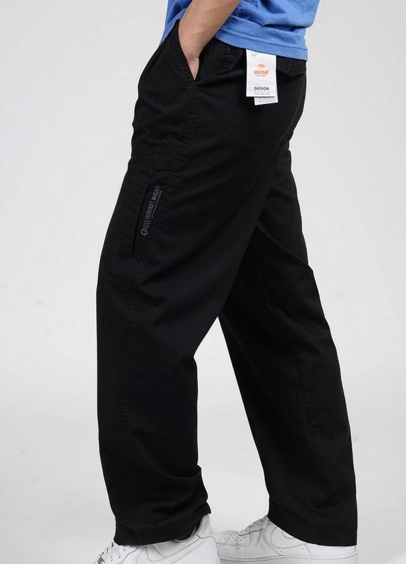 Новинка весна лето размера плюс мужские брюки карго хлопок свободные брюки мужские брюки 3XL 4XL 5XL 6XL - Цвет: Черный