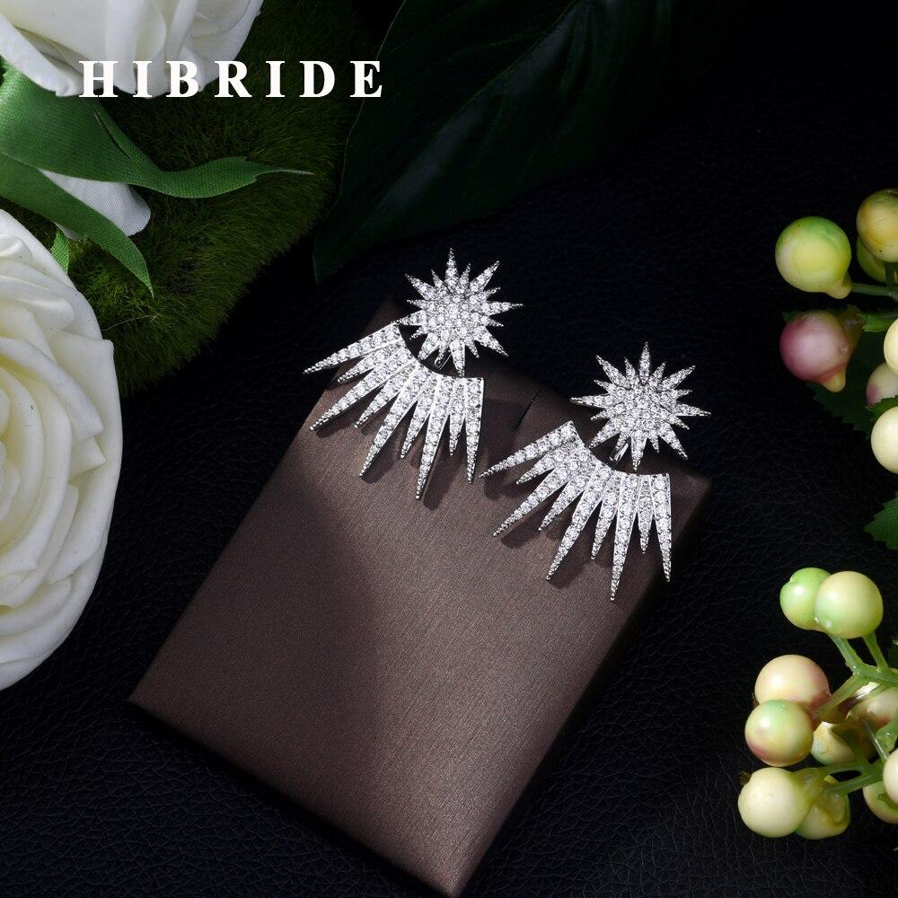 HIBRIDE Luxury White/Gold Color Trendy Cubic Zirconia Stud Earrings Wedding Party Fashion Jewelry for Women Bijoux Femme E-427