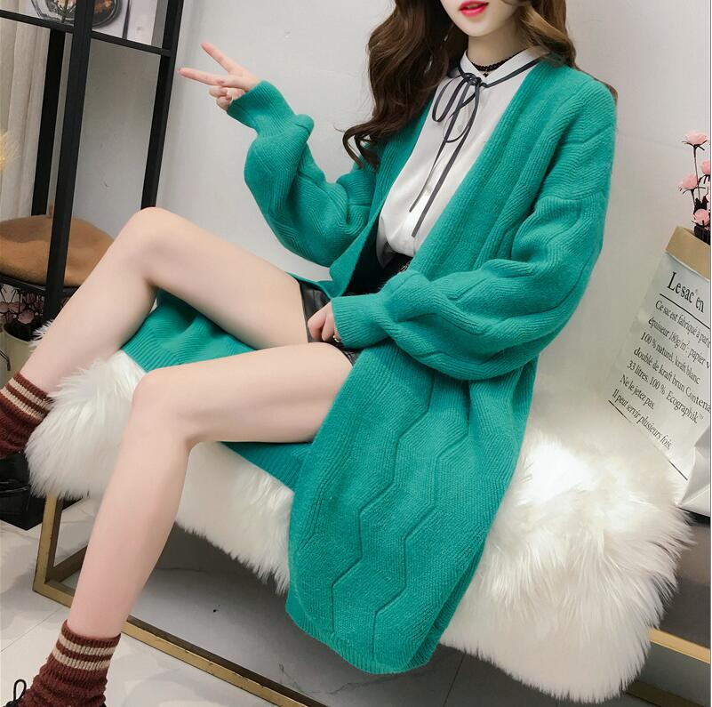 2018 High Quality Autumn Winter Knitted Cardigans Coat Women Fashion Long Sleeve Poncho Sweater Beautiful Womans Cardigan ...