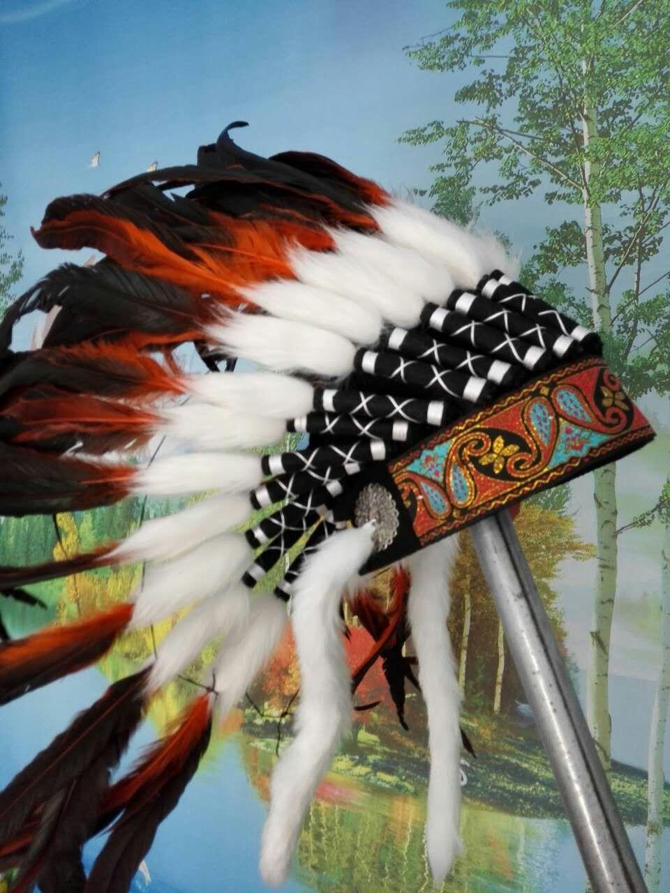 21inch orange feather Headdress headpiece feather hat halloween feather costumes