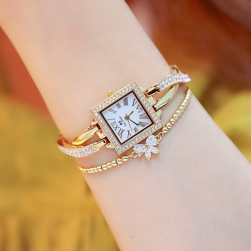 New Arrivral Small Square Ladies Watch Women Elegant Bangle Watch Girl Fashion Casual Quartz Watch Zegarek Damski Female Watch