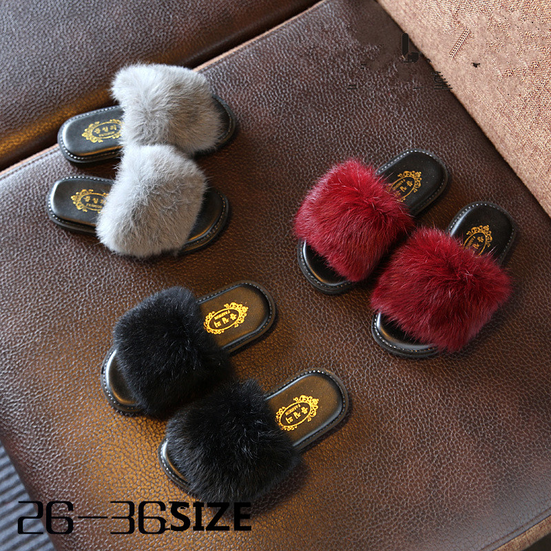 Children Winter Shoes Slippers Warm Flip Flops Fur Indoor Shoes Wool Flats Plush Home Footwear Fashion Household Shoes