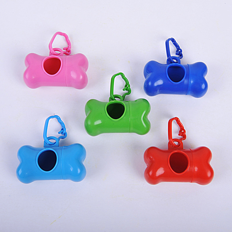 Portable Pet Dog Cute Bone-shaped Dispenser Garbage Case Included Dog Pet Pick Up Waste Poop Bags Pet Supplier Pet Waste Bag
