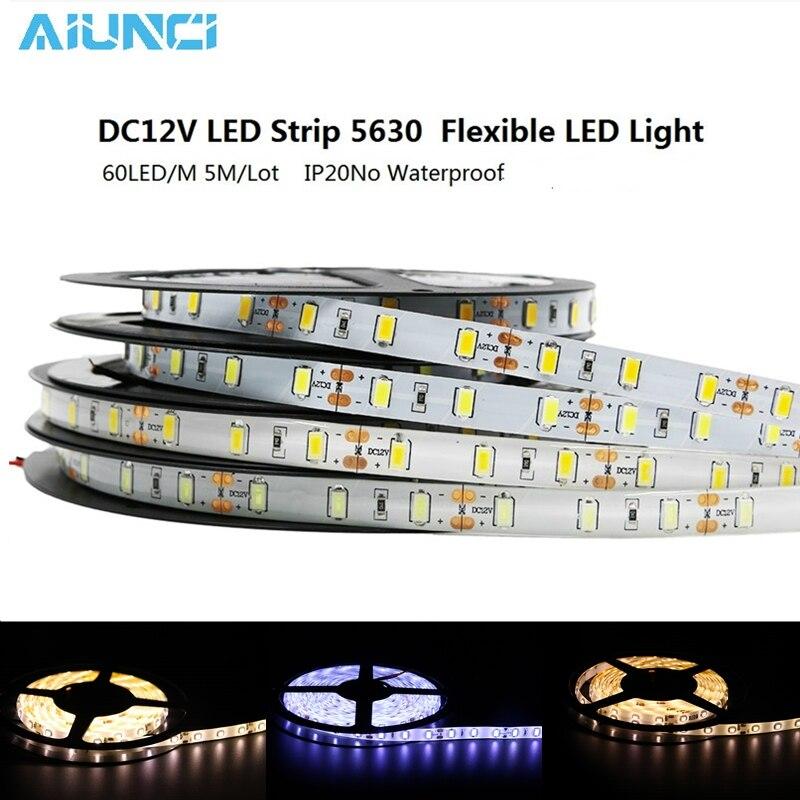 led strip light 5630 waterproof ip65 DC 12V 300led 5m cold white warm white red green blue 3000K 6500K super bright led tape