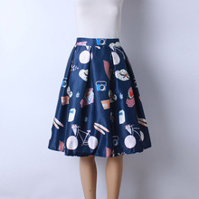 2016 Autumn New Women Fashion Satin Fabric Character Cartoon Print Middle Knee-Length Skirts Ladies Ball Gown Pettiskirt