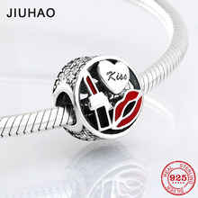 Real 925 Sterling Silver Fashion lady Lipstick attractive kiss charms beads Fit Original Pandora Charm Bracelet Jewelry making(China)