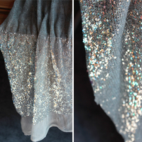 PanlongHome 1 Meter/lot Encryption Silver Sequins Flash Mesh Cloth Tablecloth Wedding Stage Performance Background Fabric