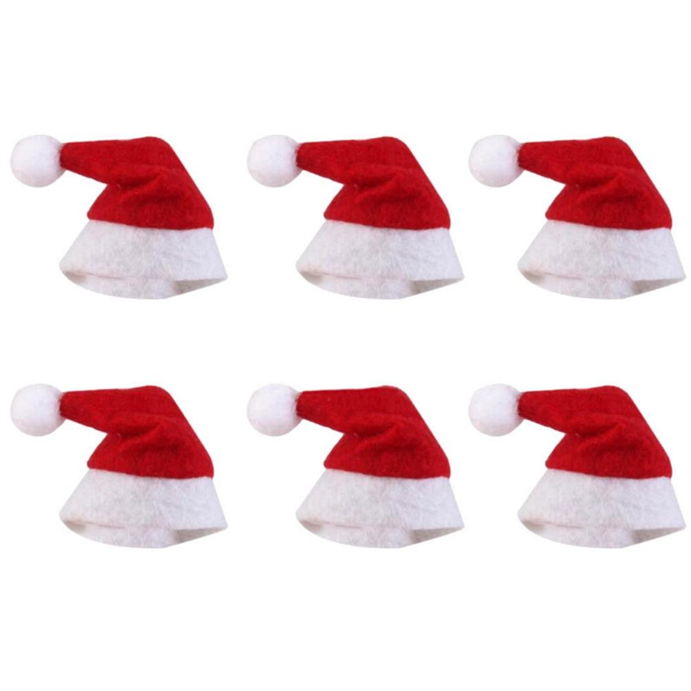 f60e339f65614 6pcs Mini Santa Claus Hat Christmas Hat Xmas Lollipop Hat Mini Wedding Gift  Creative Caps Christmas Tree Ornament Decor