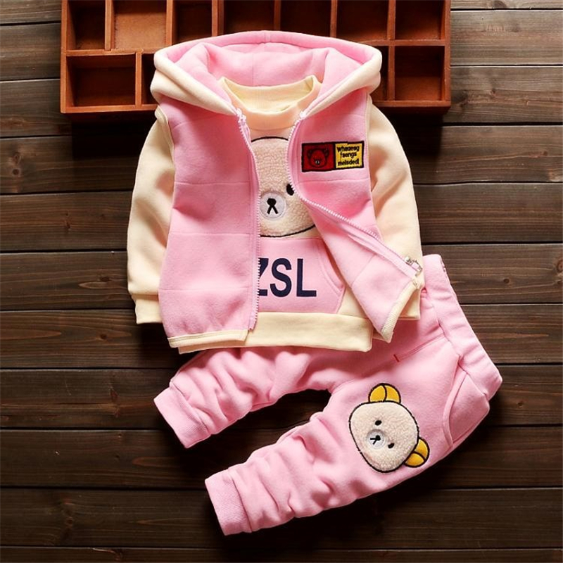 BibiCola baby boy girl clothing sets 3pcs cartoon autumn winter hooded clothes for toddler boys outfit suit childrens clothing
