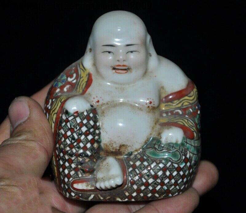 Wedding Decoration Chinese Buddhism Wucai Porcelain Glaze Wealth Happy Laugh Maitreya Buddha Statue