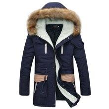 Новый парка зимняя куртка мужчины 2015 модный дизайн меха с капюшоном мужской пуховик бренд стильный хлопок мужской манто Homme Hiver
