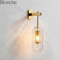 Пост современный стеклянные настенная лампа Nordic светодио дный бра для Ванная комната Спальня дома светильники Кухня светильник E14