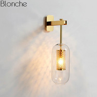 Post modern Glass Wall Lights Lamp Nordic Led Wall Sconce for Bathroom Bedroom Home Lighting Fixtures Kitchen Lamp Luminaire E14