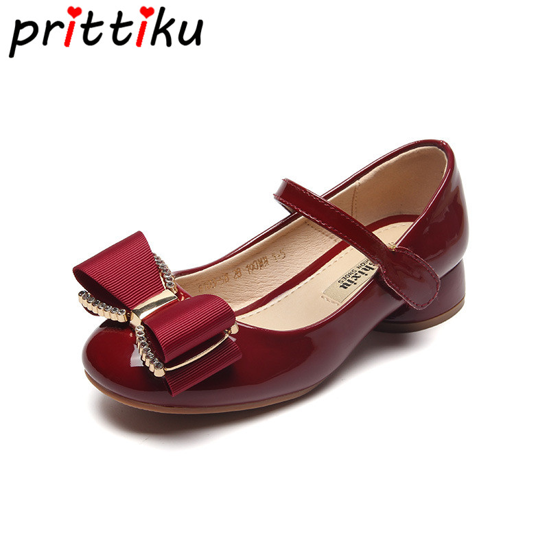 2018 Toddler Girls Bowknot Flats Little Kids Patent Leather Fashion School Mary Jane Big Children Low Heel Brand Pink Red Shoes аккумулятор для bosch 9 6v 2 1ah ni mh angle exact exact gdr gsr psr series 2 607 335 707 b