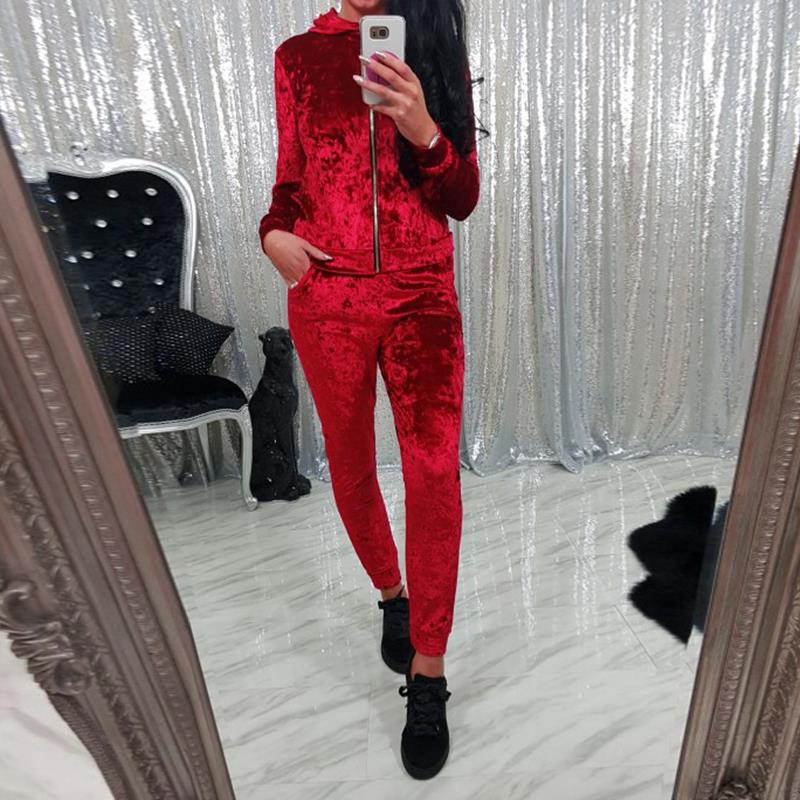 Velvet Tracksuit Two Piece Set Top Pants Women Runway Autumn Long Sleeve Top Pants Suits Fitness