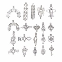 Silver 20pcs Mixed Love/I DO/Heart/Mermaid Pearl Beads Cage Pendants Essential Oil Diffuser Locket For DIY Jewelry Necklace
