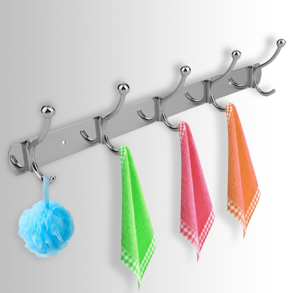 Stainless Steel 5 To 10 Hooks Universal Coat Hats Clothes Garment Robes Holder Rack Hook Wall Mounted Clothing Hanger