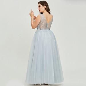 Image 2 - Dressv szary v neck plus rozmiar suknia wieczorowa elegancka suknia balowa bez rękawów frezowanie ślubna formalna sukienka na przyjęcie wieczorowe