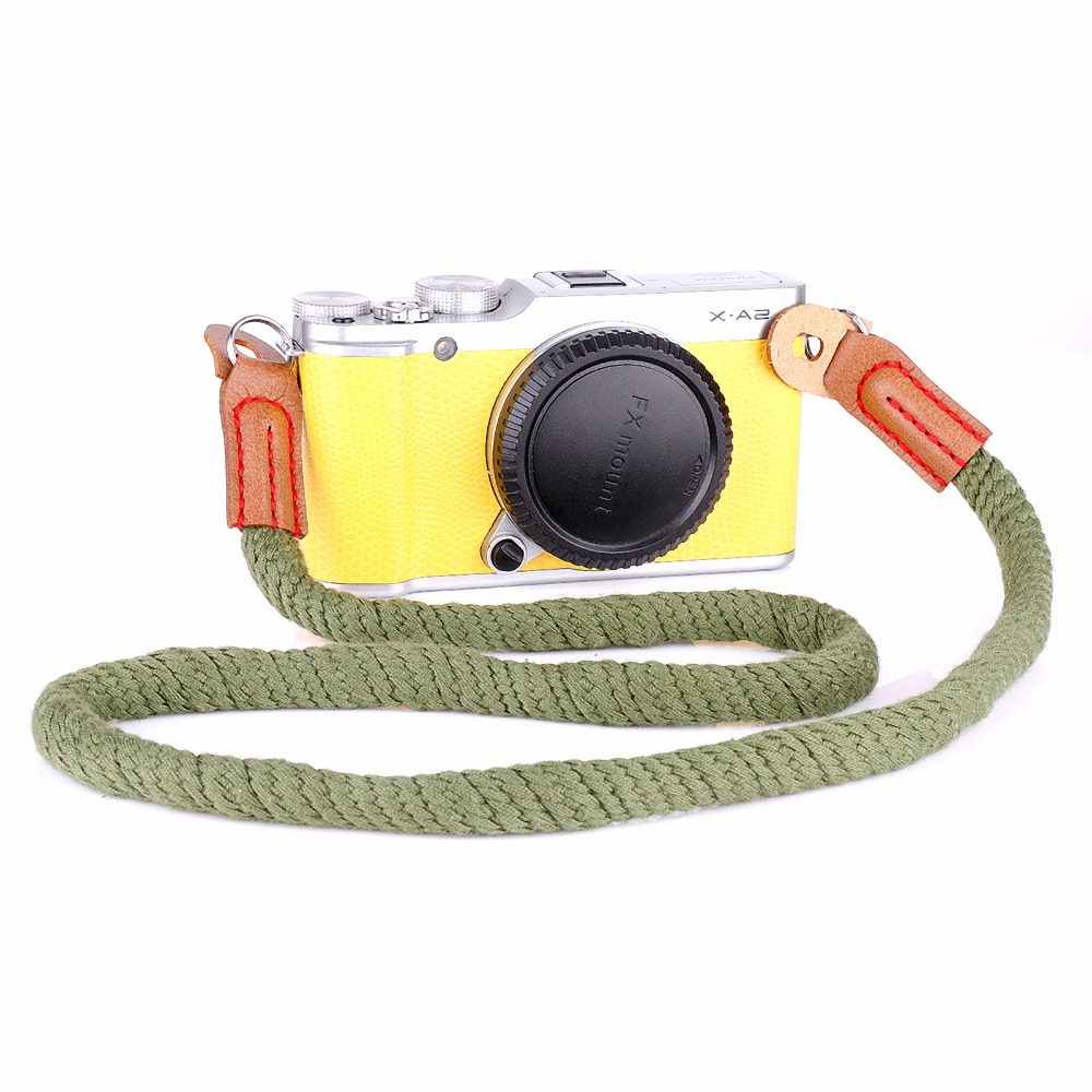 new ArmyGreen rope 100cm Mini handmade Camera neck strap for mirrorless camera for fuji sony