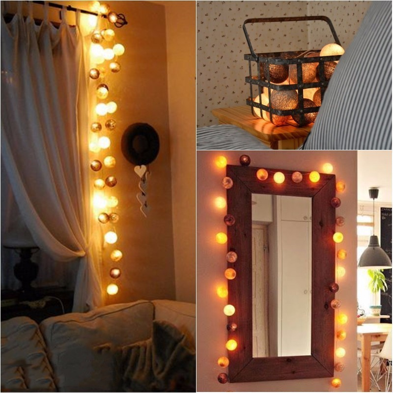 DIY boda Decoracin para el hogar ation 20 LED bola de algodn
