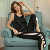 RenYvtil Summer Silk Pajamas Suit Sleeveless Vest Striped Pants Two-Pieces Women Home Wear Sleepwear Suit Dropshippping