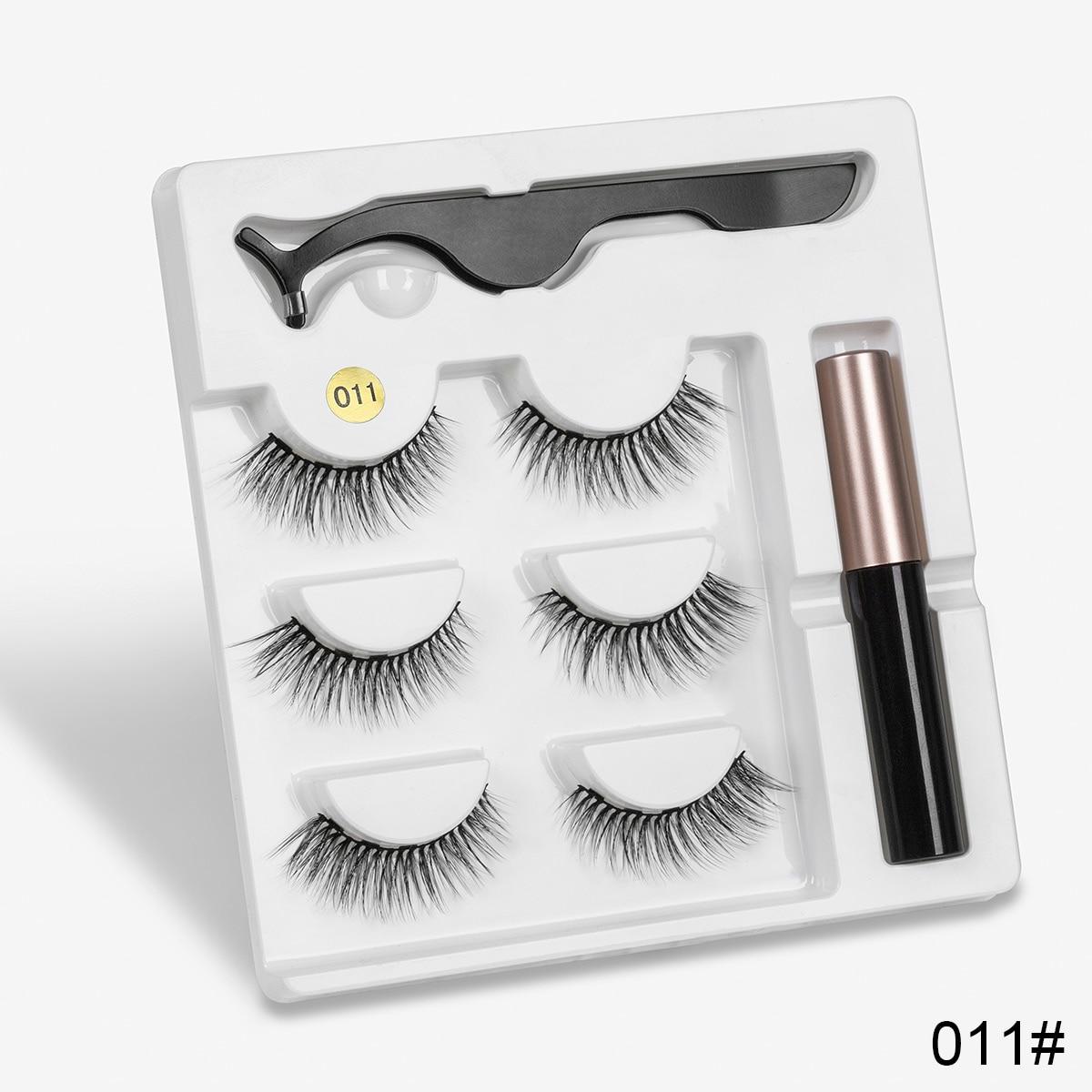 3pair 5 Magnetic Eyelashes 3D Faux mink Eyelashes Magnet Lashes Magnetic Liquid Eyeliner&Magnetic False Eyelashes & Tweezer Set 3