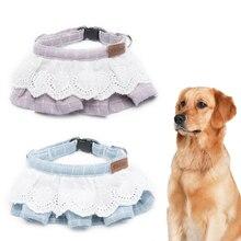 Cat Dog Bandana Bibs Collar Cotton Wave Lace Lattice Pet Scarf Saliva Towel for Small Medium Large Dogs