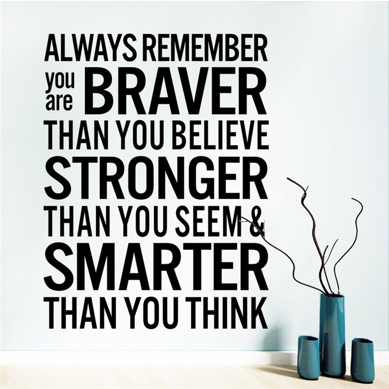 Braver Smarter Than You Think inspiring Quotes Wall Ssticker Office Decal Living Room Home Decor